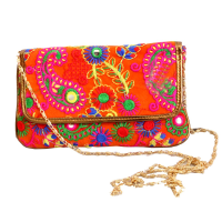 Vibrant Coloured Embroidery Work Done on Purse With Sling