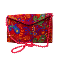 Vibrant Pink Coloured Purse Hanging Bag With Leaf Embroidery Design