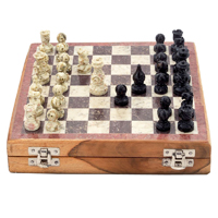 Wood and marble chess set