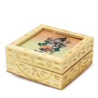 Wooden And Gemstone Designer Box With Velvet Inside