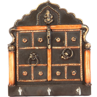 Jharokha style wooden key holder