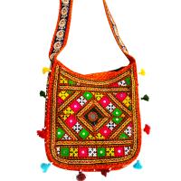 Woomaniya Orange Coloured Messenger Bag With Broad Handle And Colourful Design