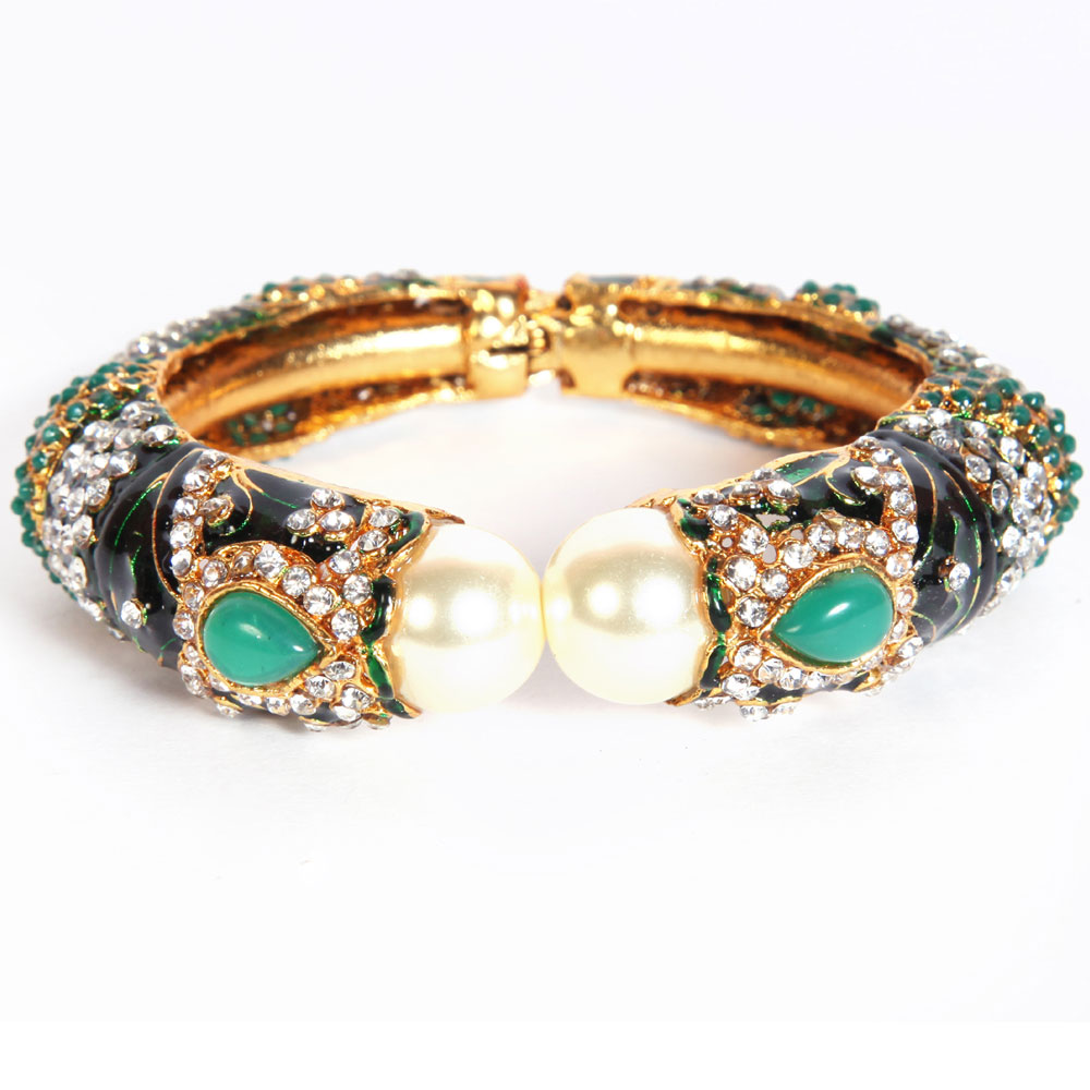 Turquoise coloured drop bangles