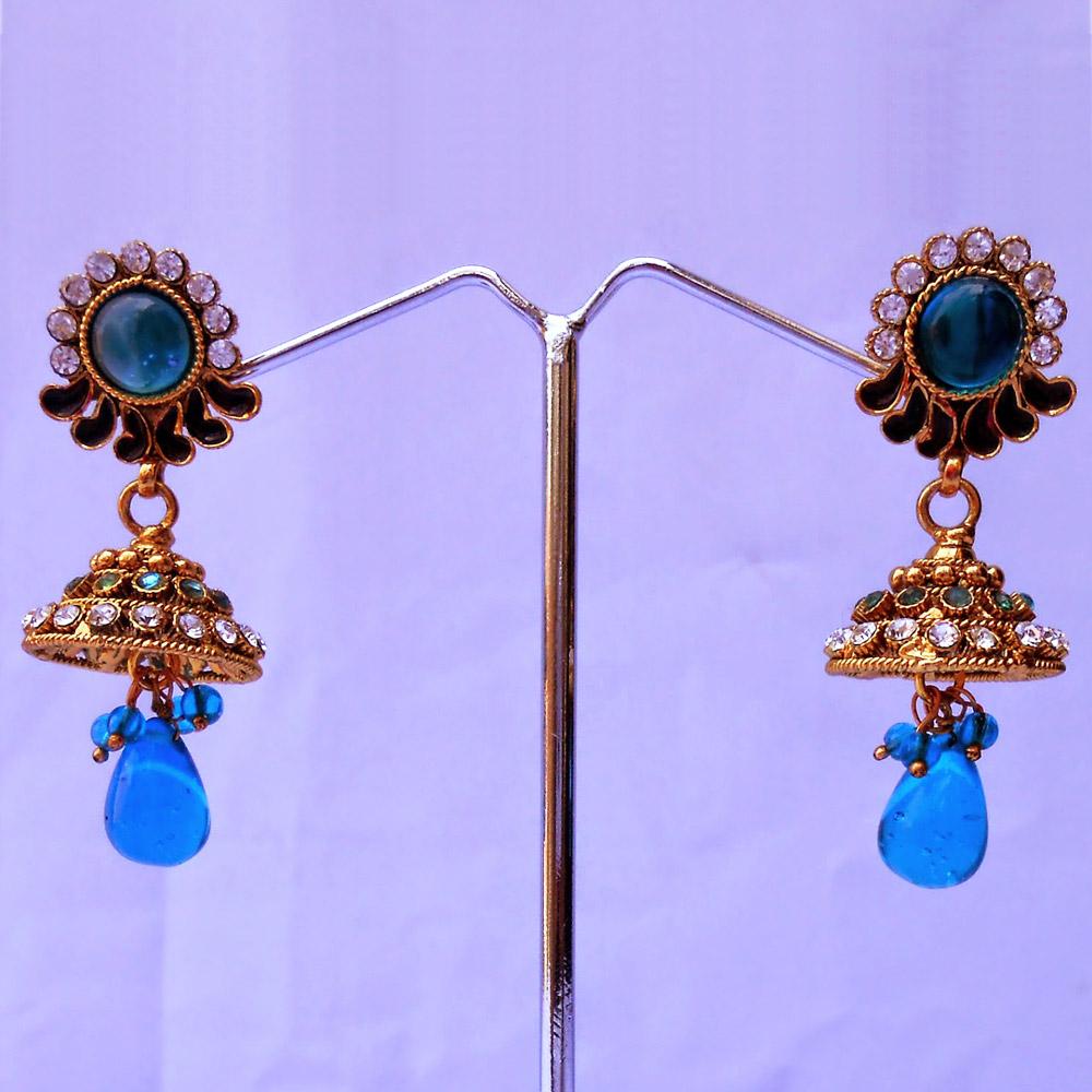 Turquoise stone hanging jhumki earrings