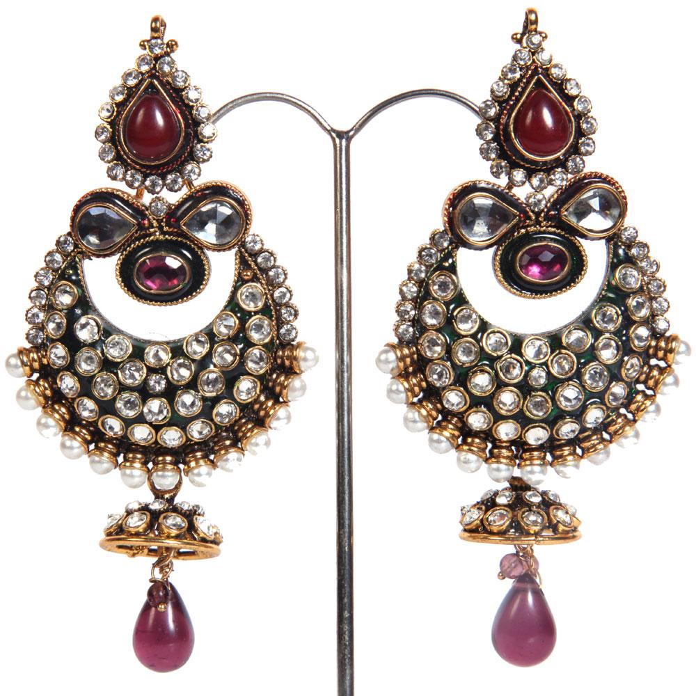 White & red stone embeded earrings