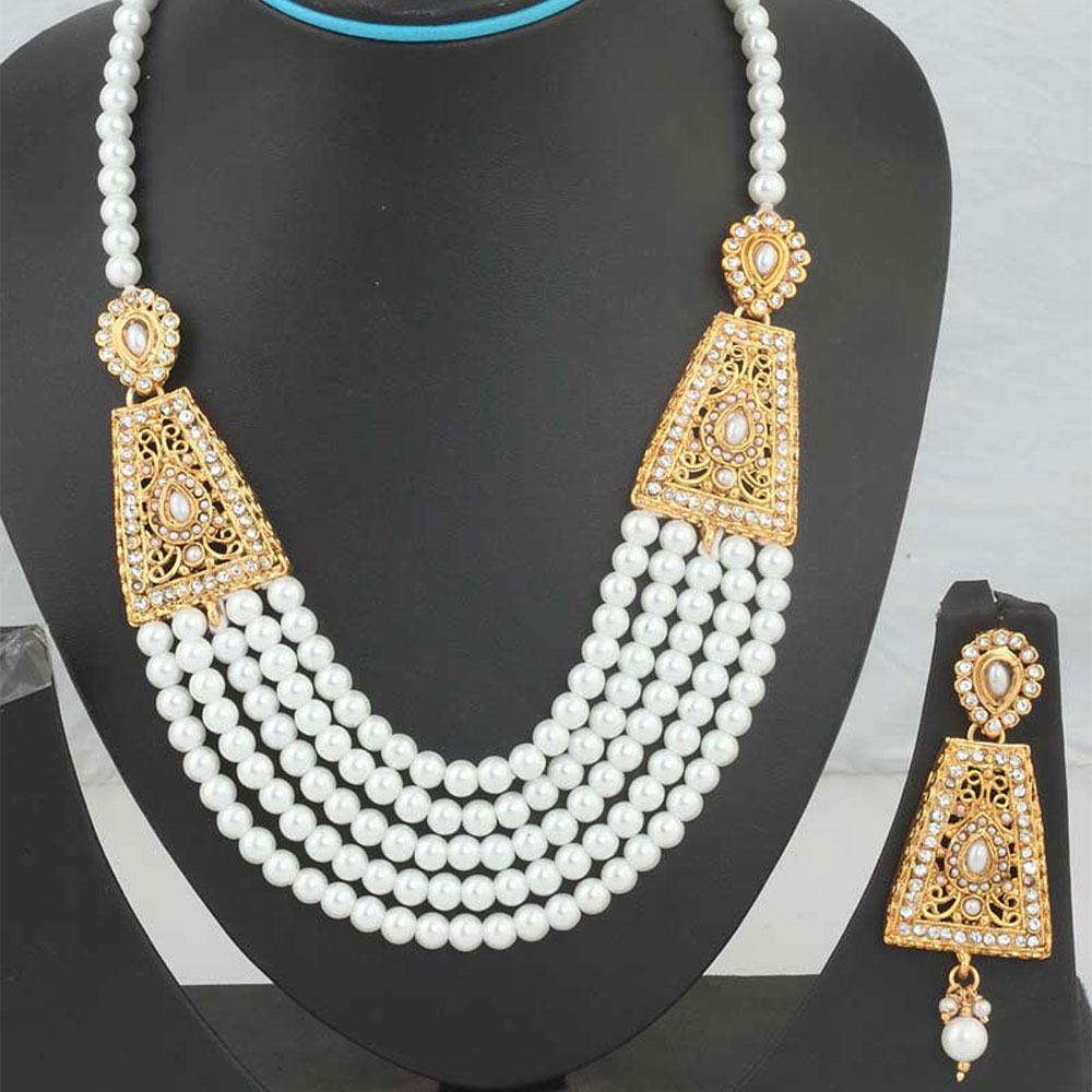 White beaded kundan necklace