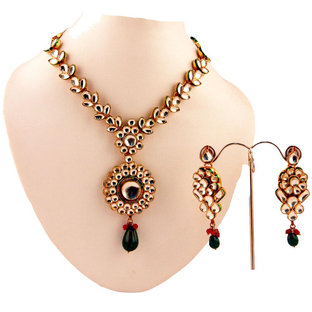 White kundan stone necklace