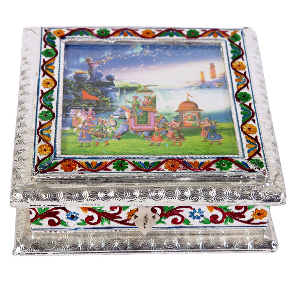 White metal dryfruit box with meenakari work