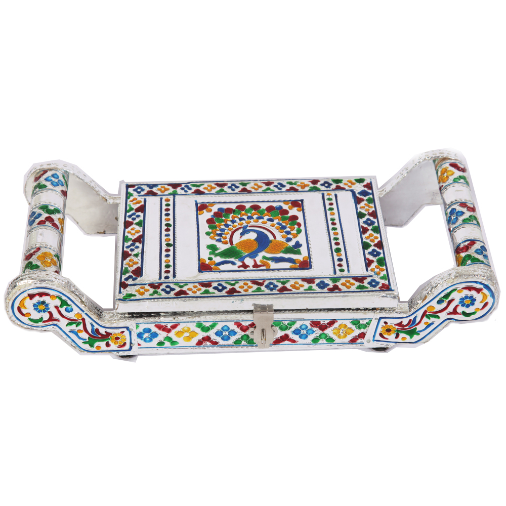 White metal meenakari dryfruit box with handles on both sides