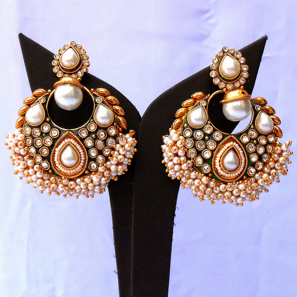 White pearls studded ram leela earrings