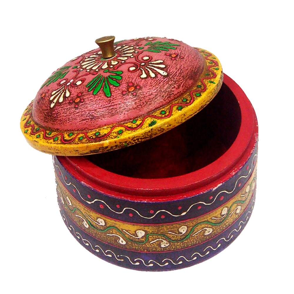 Wooden Dibbi with Embossed Work in Multicolor