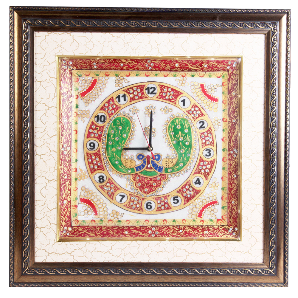Wooden Fame Marble Clock with Peacock Painting and LED Lighting