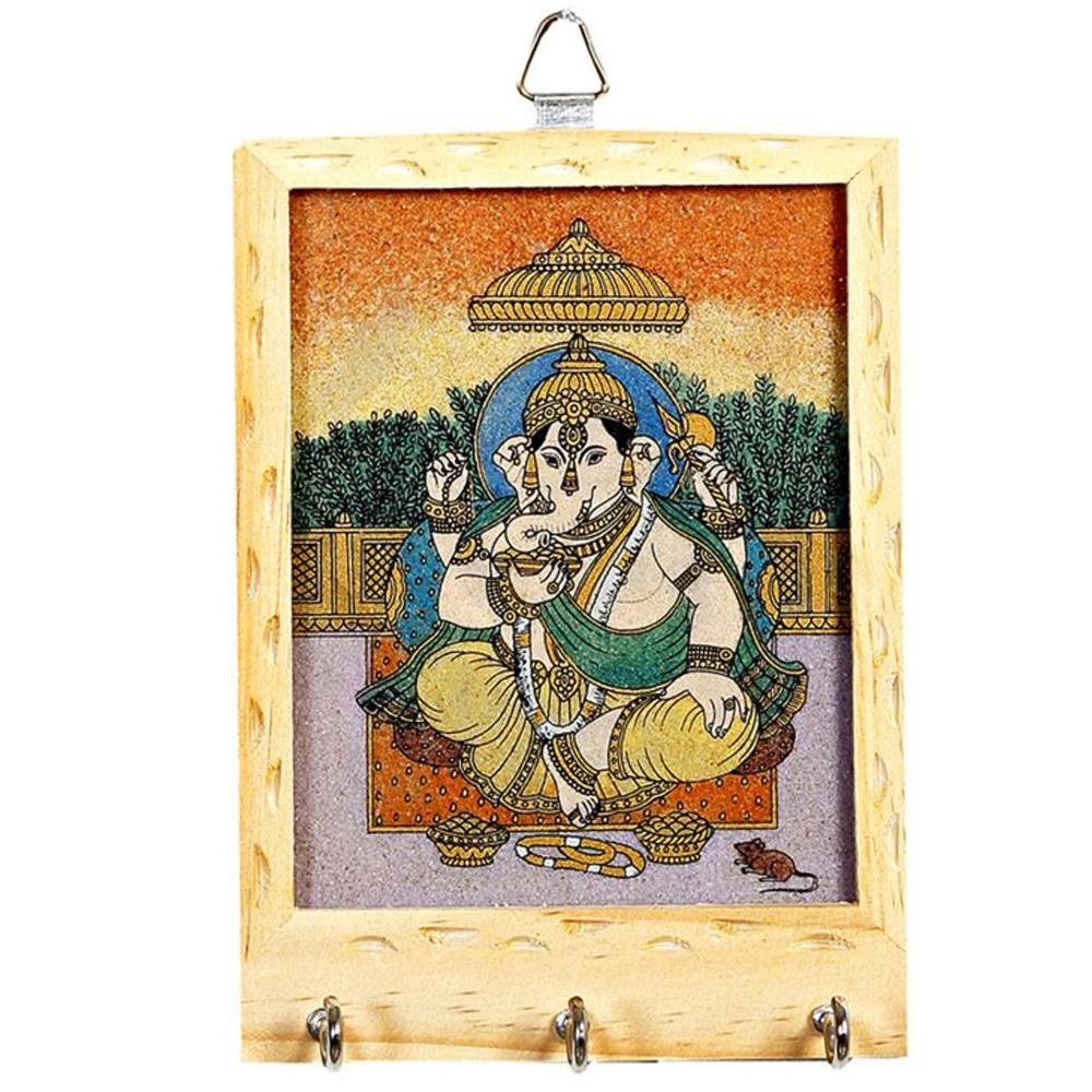 Wooden gemstone keyholder with ganesha painting