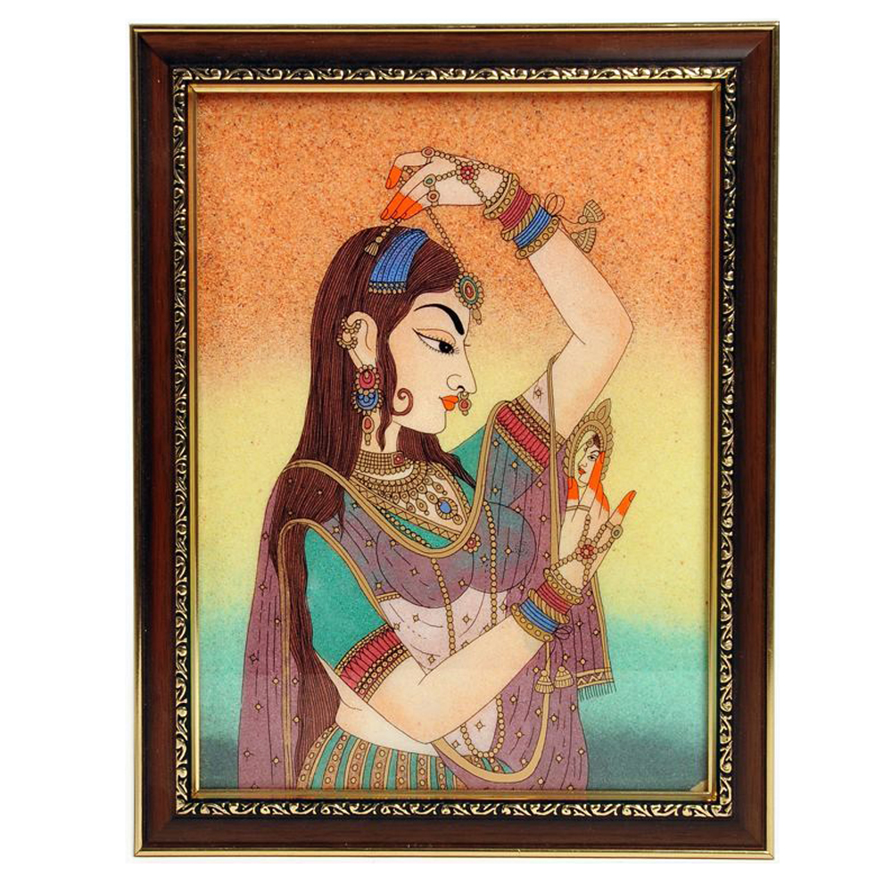 Wooden gemstone raagini painting frame