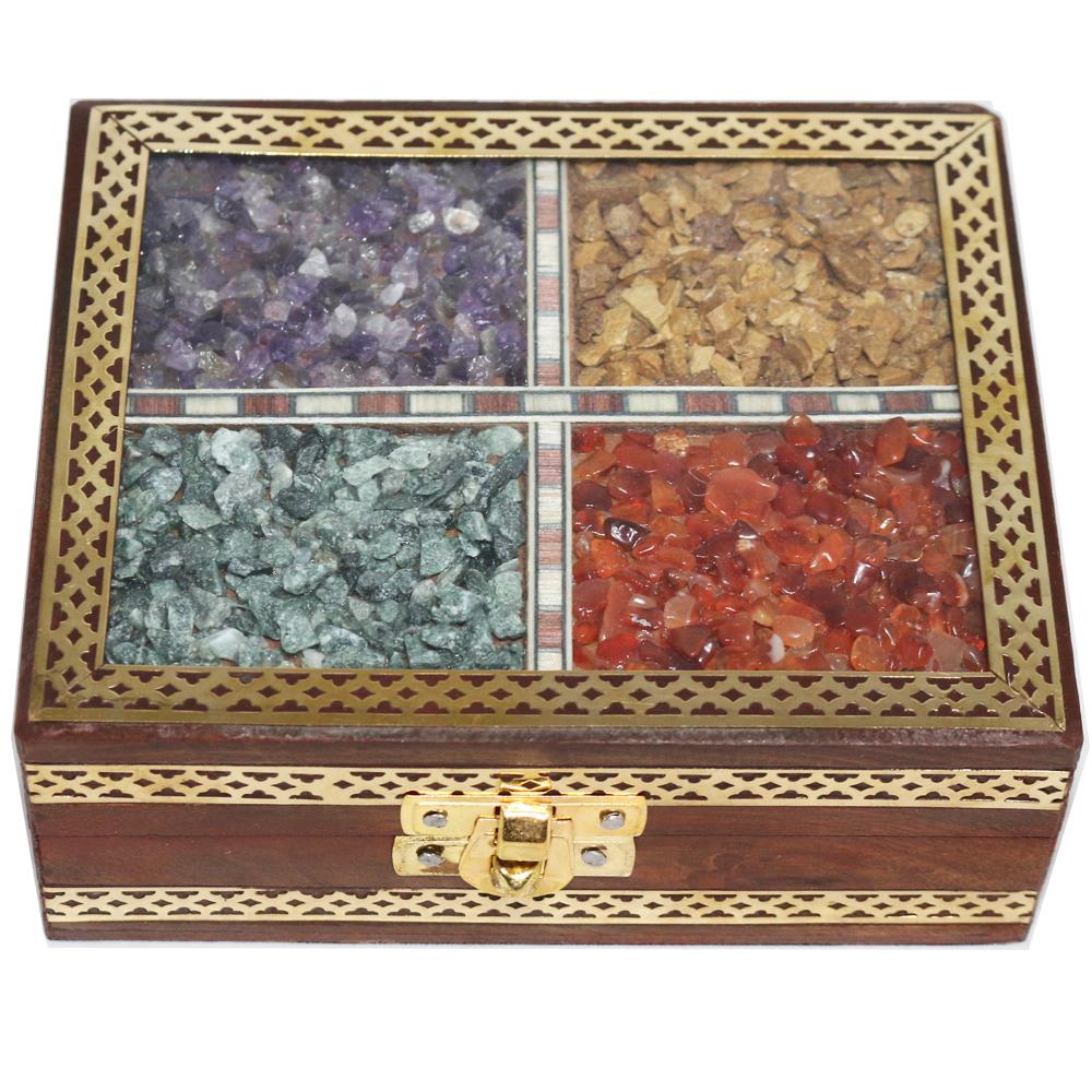 Wooden gemstone rectangular box