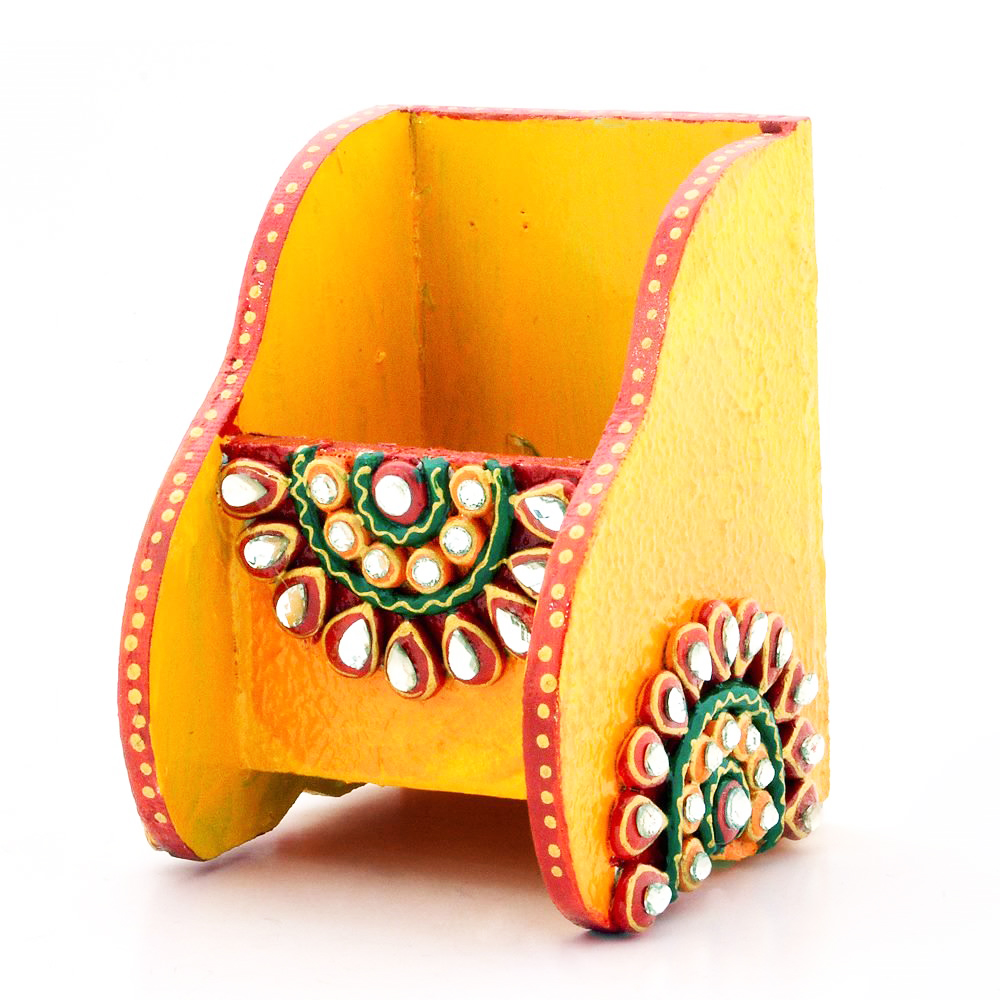 Wooden Kundan Mobile Holder in Yellow