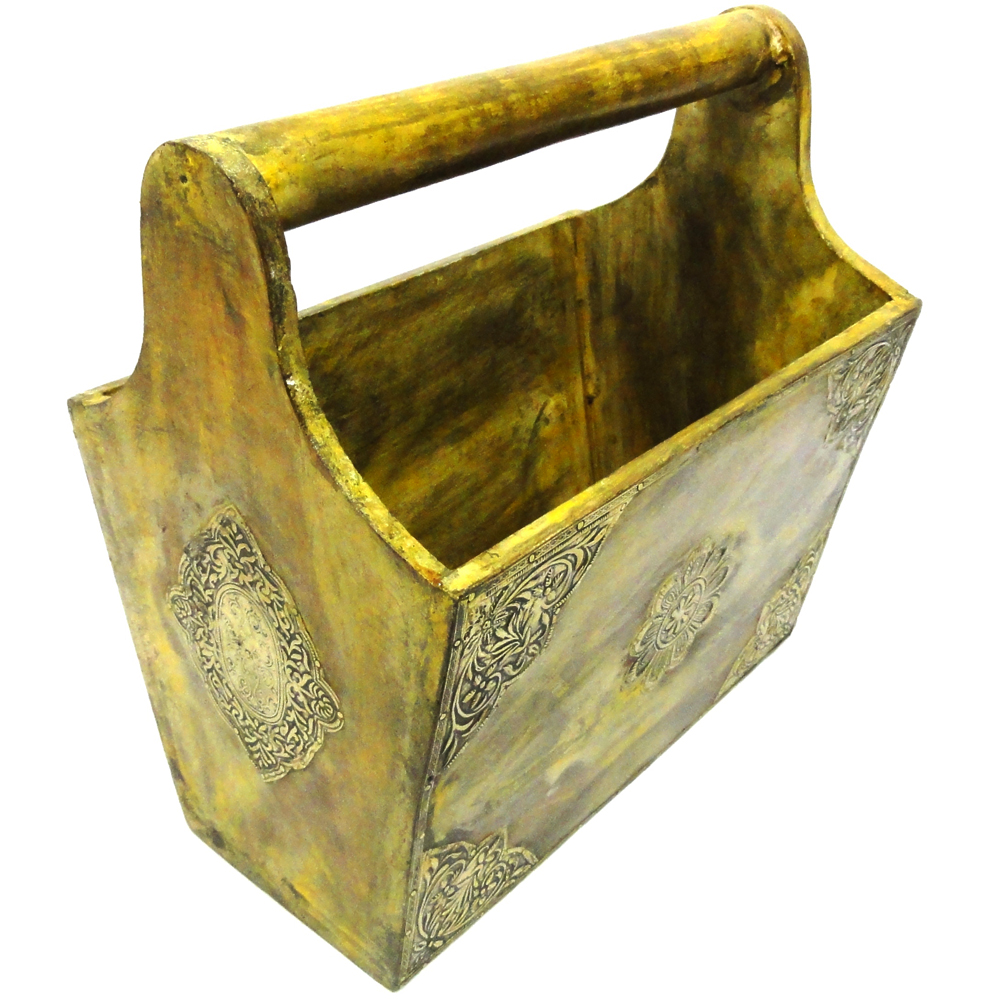 Wooden magazine holder with brass work light colored