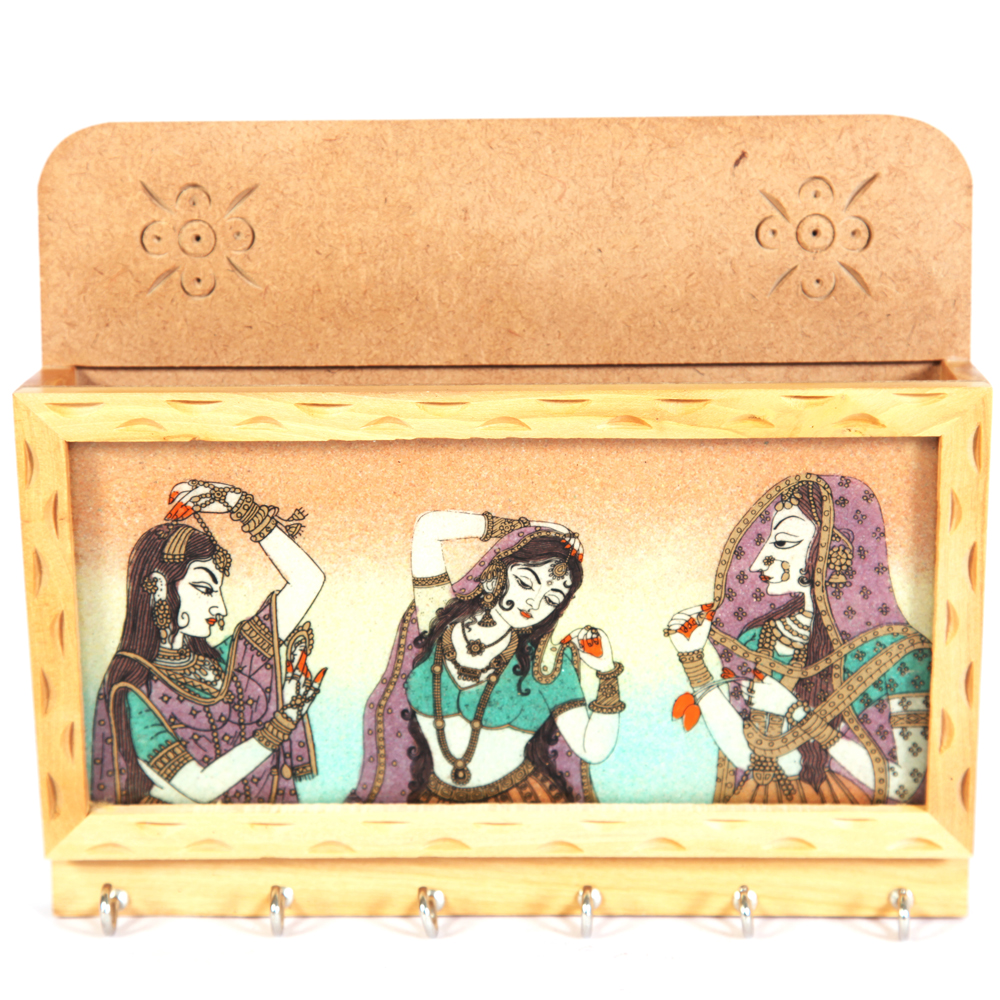 Wooden raagini painted key holder